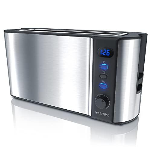 Arendo - Automatik Toaster Langschlitz - mit Defrost Funktion - warmhaltende Doppelwandkonstruktion - Automatische Brotzentrierung - Aufsatz - herausziehbare Schublade - GS
