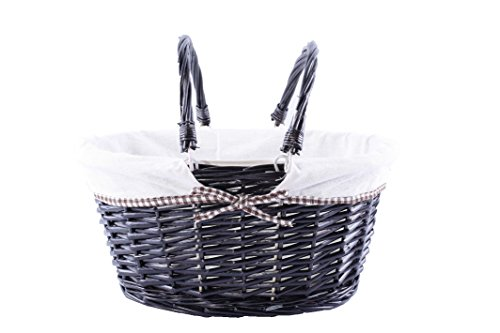 Foldable Handles Wicker Shopping Baskets Gift Hamper with Fabric Lining