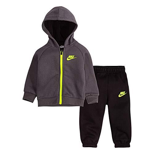 Nike - Conjunto de Ropa Infantil con Capucha y pantalón de Deporte para niños (2 Piezas), Black/Dark Grey/Volt, 12m