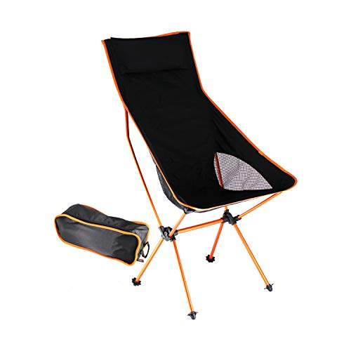 HFS (R) Outdoor High Back Lightweight Camp Chair with Headrest and Carry Case
