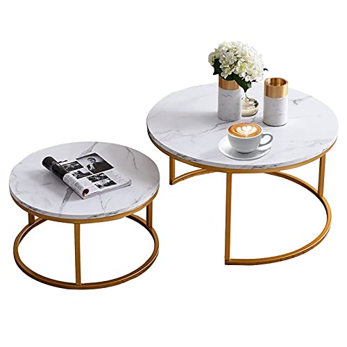 """Modern Nesting Coffee Table, Marble Look Sofa Side Nest of Tables Round End Tables, Set of 2, Golden Color Frame with Marble Wood Top- 32""""& 24"""" Table Set"""