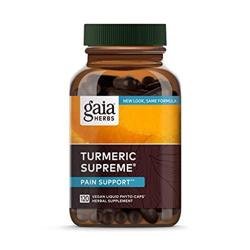 Gaia Herbs, Turmeric Supreme Pain, Herbal Pain Supplement with Curcumins, Vegan Liquid Capsules, 120 Count