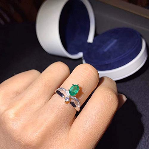 Genuine Natural Green Emerald Ring May Birthstone Engagement Cocktail Wedding Ring White Gold Plated Silver Ring For Women Art Deco