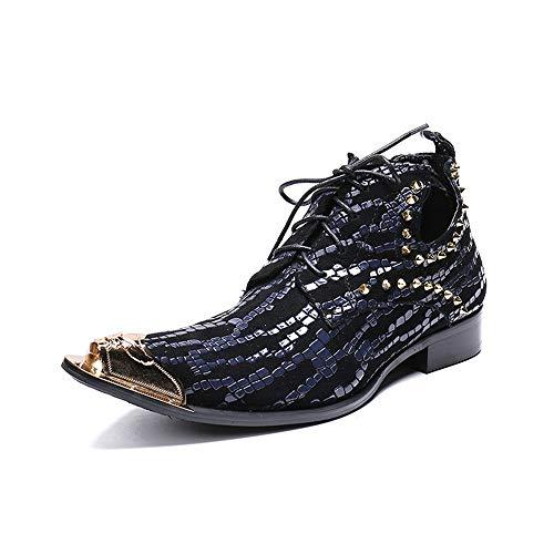 Rui Landed Mode Stiefelette Für Männer Casual Metall Peep-Toe Stiefel Schnürung Stil Rivet & Punk Gold Dot Dekoration Spitz Nachtclub (Color : Blau, Größe : 46 EU)