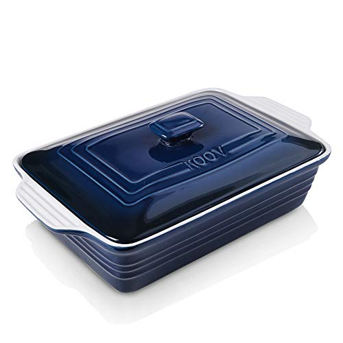 KOOV Ceramic Casserole Dish with Lid, Covered Rectangular Casserole Dish Set, Lasagna Pans with Lid for Cooking, Baking dish With Lid for Dinner, 9 x 13 Inches, Gradient Series (Gradient Blue)