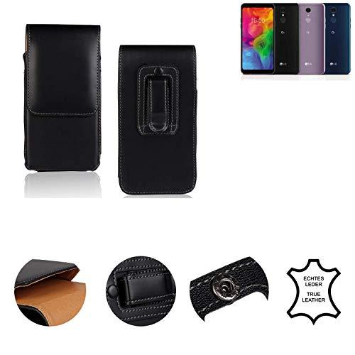 K-S-Trade® Holster Gürtel Tasche Für LG Electronics Q7 Alfa Handy Hülle Leder Schwarz, 1x