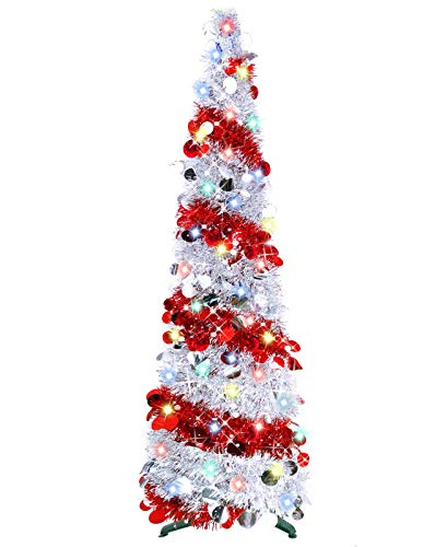 TURNMEON 5 Foot Pop Up Christmas Tinsel Tree with 50 Color Lights, Pre-lit Christmas Tree Decoration with Ball Ornaments Battery Operated Xmas Decoration Indoor Home Decor (Silver Red)