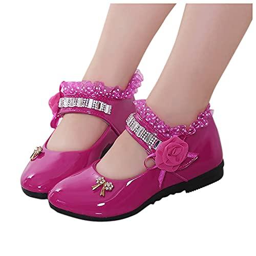 Filles Mary Jane Chaussures Princesse Enfants Talon Bas Bout Rond Fleurs CChaussures en Cuir Verni école Danse Performance Chaussures habillées