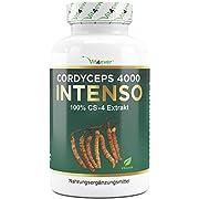 Cordyceps 4000 Intenso - 180 capsules - 500 mg d'extrait de CS-4 véritable par capsule - 40% de polysaccharides - Dosage élevé - Champignon chenille - Végétalien