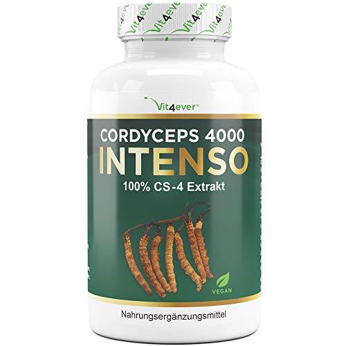 Cordyceps 4000 Intenso - 180 Kapseln - 500 mg echtes CS-4 Extrakt pro Kapsel - 40% Polysaccaride - Laborgeprüft (Wirkstoffgehalt & Reinheit) - Hochdosiert - Raupenpilz - Vegan