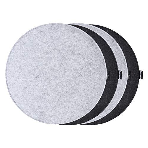 Cozywind Cojín de Asiento Set de 4, Cojines de Silla de Fieltro Redondo, 35 * 35cm (Gris Claro + Negro)