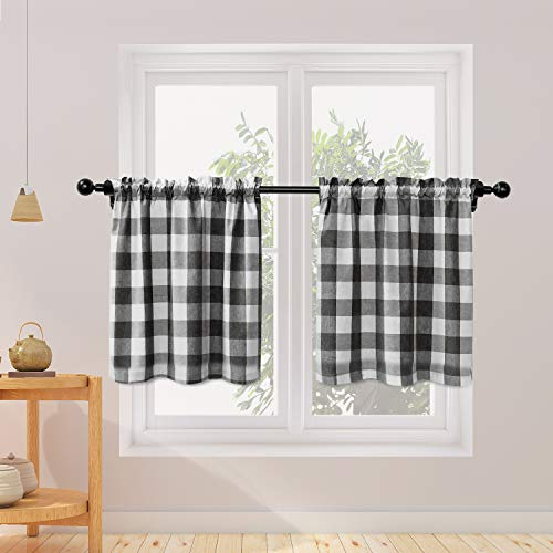 NATUS WEAVER Cotton Window Curtain Valances 16 inches Long 2 Panels Buffalo Check Small Curtain Rod Pocket Classic Country Farmhouse Kitchen Tier Curtains - Black & White