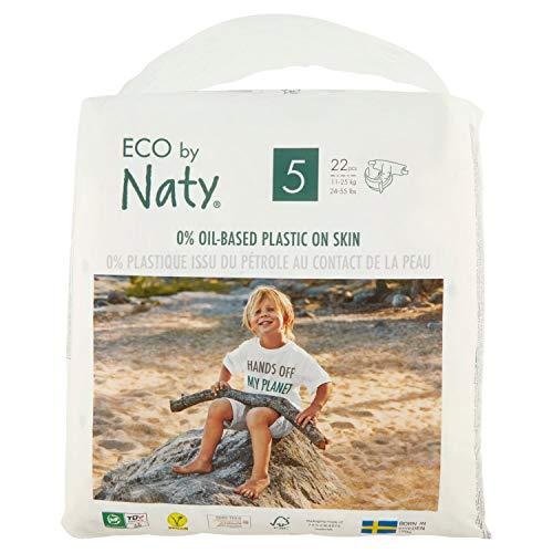 Eco by Naty Premium Einmalwindeln für empfindliche Haut, Größe 5, 11-25 kg, (1 x 22 Stück)