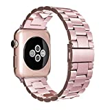 Simpeak Correa Compatible con Apple Watch Apple Watch 6/SE/5/4/3/2/1 38mm de Acero Inoxidable Reemplazo de Banda de la Muñeca con Metal Corchete, Oro Rosa