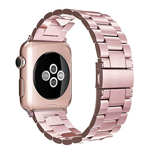 Simpeak Correa Compatible con Apple Watch Apple Watch Series 5/ Series 4/Series3/ Series 2/ Series 1 38mm de Acero Inoxidable Reemplazo de Banda de la Muñeca con Metal Corchete, Oro Rosa