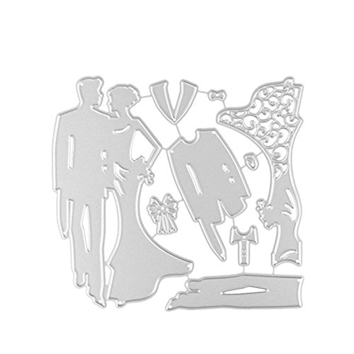 Zreal Knutselen embossing cutter matrijs gereedschap bakvorm bruid bruid bruid vorm huwelijk koolstofstaal paar fotoalbum