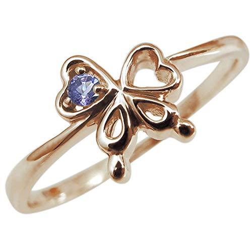 [プレジュール]レディース タンザナイト リング リボン K10 ピンクゴールド 指輪 一粒 蝶 リングサイズ2号