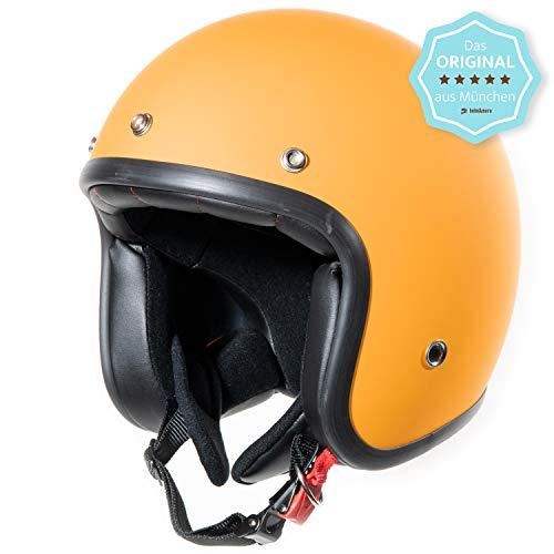 ORIGINAL Fräulein Irmi Retro Vespa-Helm, Jet-Helm mit Sonnen-Visier, Roller-Helm für Frauen und Herren im edlen Vintage-Look, Qualität nach ECE-Norm, orange matt