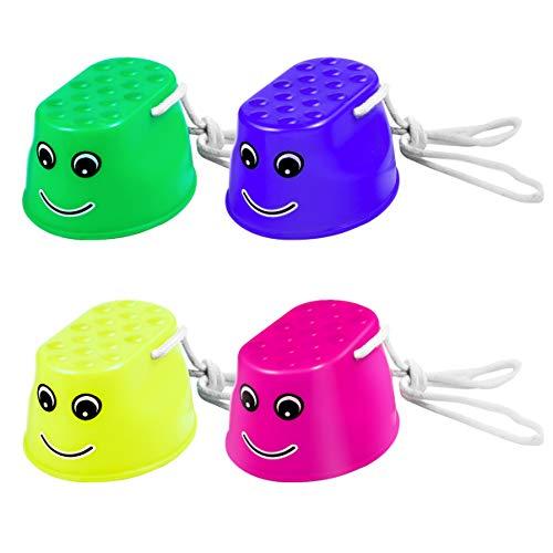 STOBOK Kunststoff Ausgleich Stelzen Eimer Stelzen Stepper Spielzeug Fuß Stelzen für Kinder Im Freien 4Pcs ( Blau Rosa Gelb Grün )