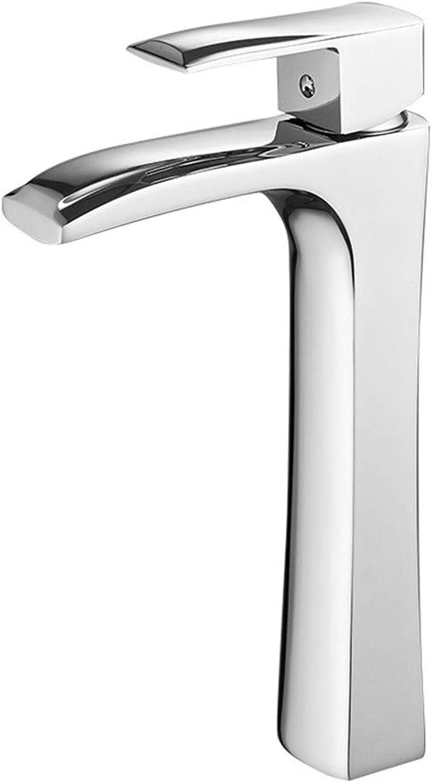 Heies und kaltes Wasser Hahn Wasserfall Waschbecken Wasserhahn Retro Kupfer, Silber, 26CM