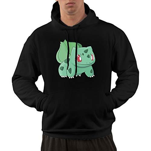 Pokemon - Sudadera con capucha para hombre y mujer, diseño clásico de dibujos animados, con bolsillo canguro, sudadera de algodón suave y cómodo, M negro