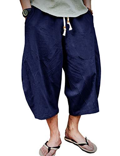 EKLENTSON Board Shorts Mens Long Shorts Yoga Shorts with Pocket Patchwork Shorts Men Pajama Shorts for Men Casual Navy Blue