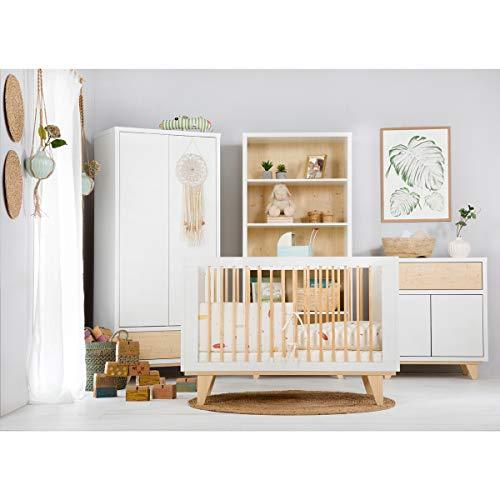 Cama convertible dormitorio completo 70x140 - cómoda - armario 2 puertas LittleSky de Klups Lydia - Blanco