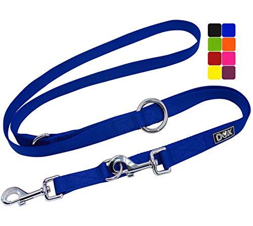 DDOXX Hundeleine Nylon, 3fach verstellbar, 2m   für kleine & große Hunde   Doppel-Leine Zwei Hund Katze Welpe   Schlepp-Leine groß   Führ-Leine klein   Lauf-Leine Welpen-Leine   XS, Blau