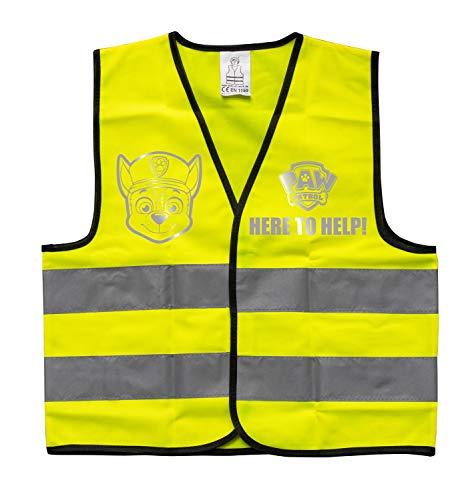 POS 31476 - Warnweste für Kinder mit angesagtem Paw Patrol Motiv, Sicherheitsweste in neon gelb, für Jungen und Mädchen von 6 bis 10 Jahre, für eine bessere Sichtbarkeit im Straßenverkehr