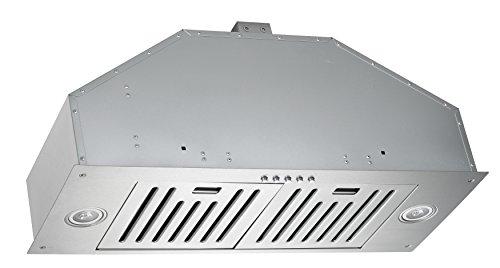 KOBE INX2730SQB-700-2 Brillia 30-inch Built-in/Insert Range Hood, 3-Speed, 750 CFM, LED Lights, Baffle Filters