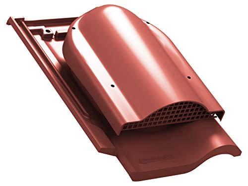 Flachlüfter für Braas - Rubin 13V Dachziegel, Dachlüfter Entlüfter Lüftungsziegel (RAL 3009 - Rot)