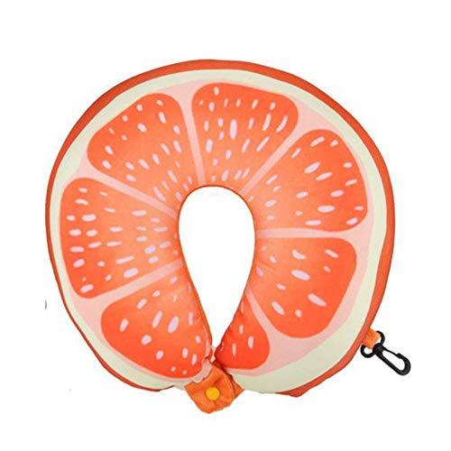 JONJUMP Fruta U en forma de almohada de viaje nanopartículas almohada de cuello naranja almohadas suave cojín textil para el hogar