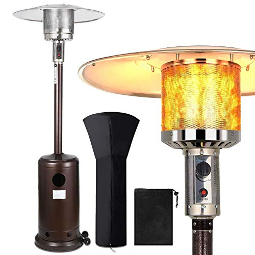 46000 BTU Portable Outdoor Patio Heater - Rapid Heating Space Propane Heater - Commercial & Residential Floor Standing With Wheels and Rain Cover For Christmas,Restaurant,Weeding and Party
