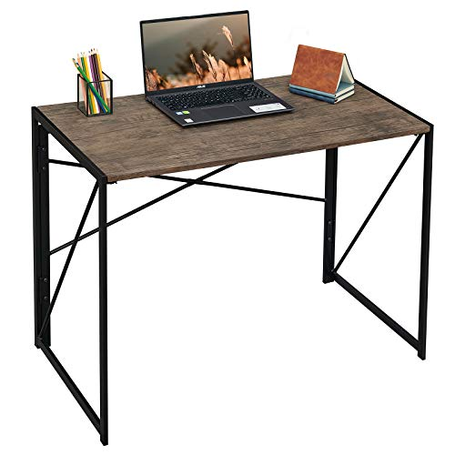 Coavas Folding Desk No Assembly Required, 40' Writing Computer Desk Space Saving Foldable Table Simple Home Office Desk,Brown