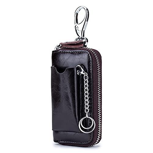 DONGMING Car Key Chains Wallet Pouch Case Holder Men Allet Key Organizer Bag,Dark Brown