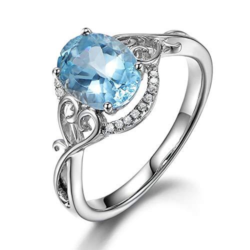 AnazoZ Anillo de Compromiso para Mujer,Anillos 925 Mujer Oval y Corazón 7X9MM Topacio Azul Blanco Anillos Mujer Plata Azul Talla 13,5