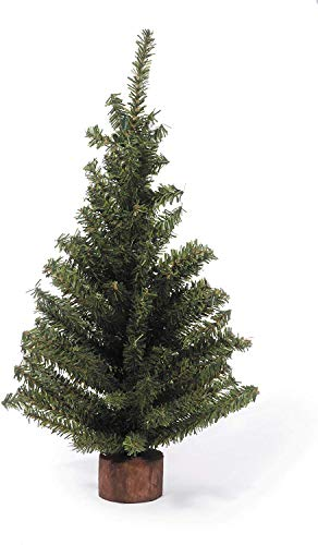 """Darice Mini Canadian Pine Tree with Wood Base (1pc), Green – Spread Holiday Décor Around Your Home – Artificial Tree Has 124 Tips and Works Great with Mini Ornaments and Lights, 18"""""""