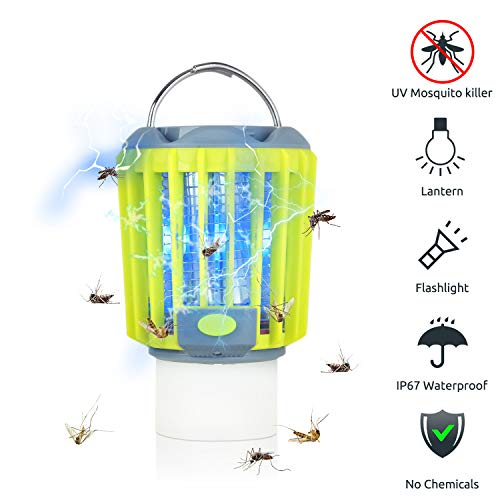 ERAVSOW Bug Zapper & LED Camping Lantern & Flashlight 3-in-1, Waterproof Rechargeable Mosquito Zapper, Portable Compact Camping Gear for Outdoors