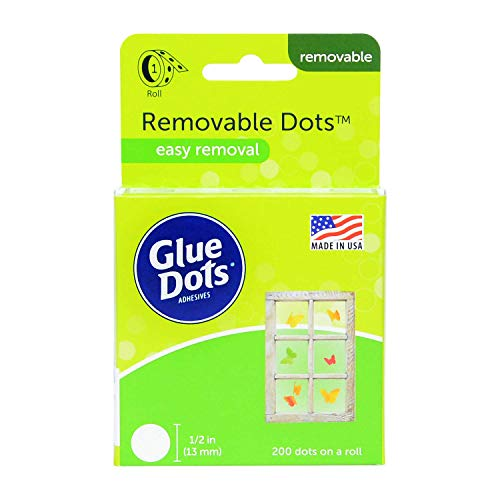 Glue Dots GD08248 Removable auf Rolle, die auf einer Vielzahl sauberer und trockener Oberflächen wie Papier, Kunststoff, Metall, Holz, Glas und anderem mehrfach verwendbar sind