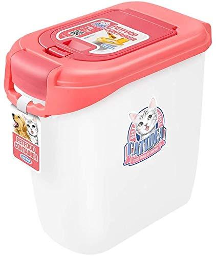 Kattenvoer Hondenvoer Barrel, Sealed Grain Storage Box, Double-open deksel Vochtbestendige opslagtank met Grain Spoon, Pink Droog Voedsel Container Pet kat hondenvoer behoud voeden.