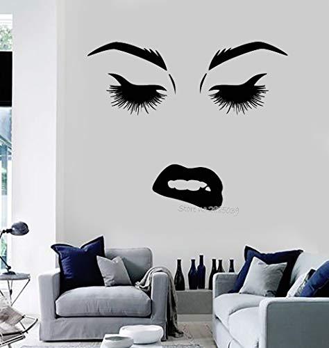 Blrpbc Pegatinas de Pared Adhesivos Pared Vinilo Estilo de Moda Belleza Mujer Cara Ojos Labios pestañas Pegatinas murales Arte decoración del hogar sofá Fondo 90x76cm