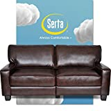 Serta Palisades Upholstered Sofas for Living Room Modern Design Couch, Straight Arms, Soft Fabric Upholstery, Tool-Free Assembly, 78', Chestnut Brown