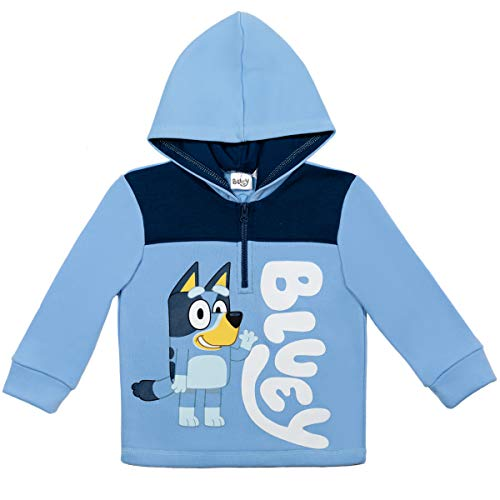 Bluey Little Boys Pullover Half-Zip Hoodie Blue 6