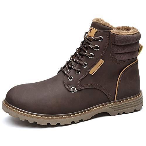Quickshark Mens Winter Snow Boots Waterproof Non Slip Insulated Shoes Warm Hiking Boot Fur Lined A-Brown Size 9.5