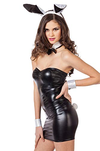 Jannes Bunny Kostüm Sexy Damen 5-Teilig Kostümset Hase l Hasenkostüm mit Haarreif Fliege Manschetten & Puschel-Schwanz l Farbe: Weiß Schwarz