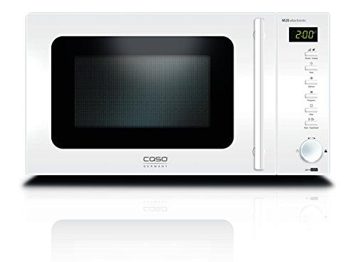 CASO M20 electronic pure white Design Mikrowelle / 800 Watt Mikrowelle mit 5 Leistungsstufen / 20 Liter Garraum