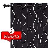 Estelar Textiler Black Curtains Wave Line Stripe Foil Print Blackout Grommet...