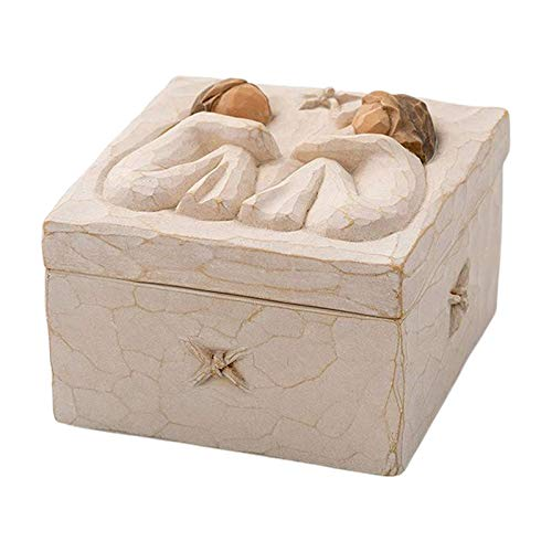 FITYLE Bella Semplice Resina Scolpito Keepsake Box Decorativo Amicizia Regalo per Monili - Scatola Quadrata