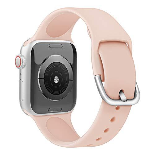 Anzhee Sport Band Compatibel met Apple Watch 40mm 38mm 42mm 44mm, Zachte Silicone Apple Horlogebandjes voor iWatch Series 5, Series 4, Series 3, Series 2, Serie 1 S/M M/L, 42mm/44mm S/M, Pinksand