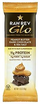 Raw Rev Glo Vegan Protein Bars Peanut Butter Dark Chocolate & Sea Salt 1.6 Ounce Bar  Pack of 12